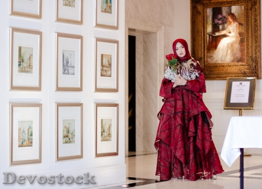 Devostock Beauitful Woman Art Red Cloth 4K