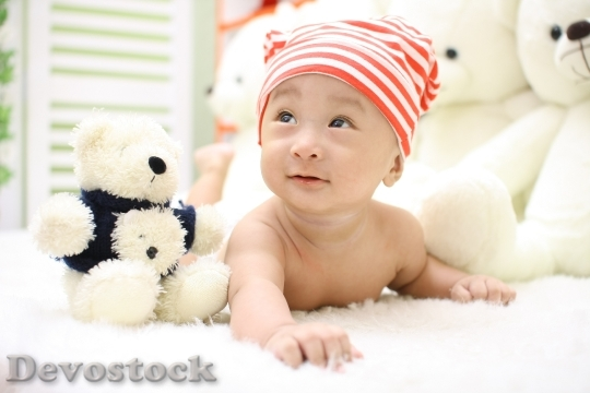 Devostock Cute Bear Young Happy Baby Doll 4K