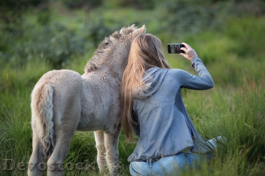 Devostock Landscape Field Smartphone Mobile Nature Girl Horse 4K