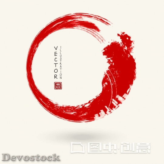 Devostock vector red ink round stroke
