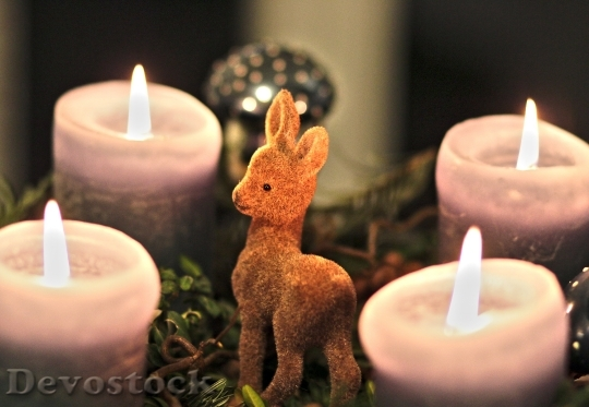 Devostock Advent Wreath Candle Roe 4K