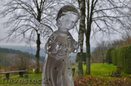 Devostock Angel Christmas Transparent Grden 4K