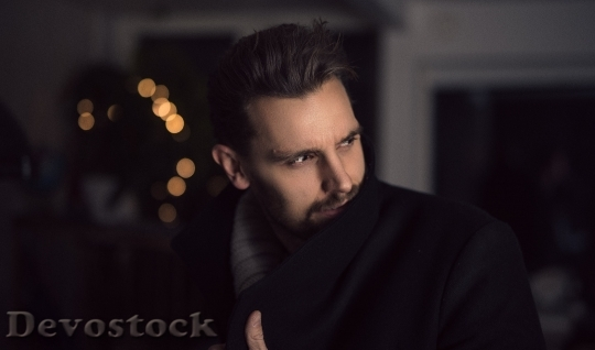 Devostock Beard Man Looking Lights 4K
