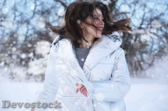 Devostock Beautiful Girl Jacket Laughing Snow