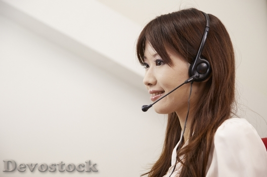 Devostock Beautiful Girl TELEPHONE OPERATOR HEADSET