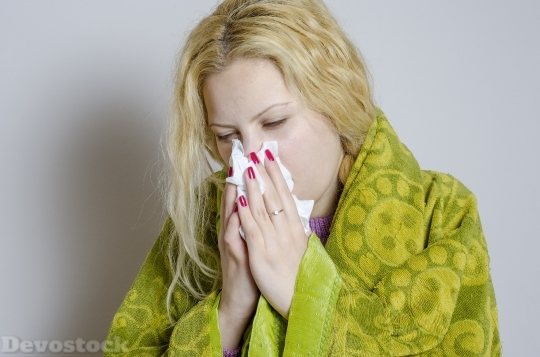 Devostock Blonde Girl CAUGHT A COLD NOSE