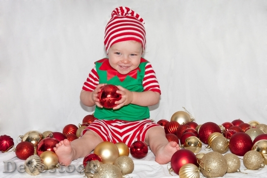 Devostock Boy Christmas Elf Chritmas 4K