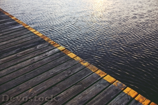 Devostock Bridge Waves Wooden Water Surface 4K