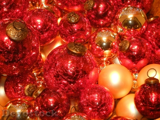 Devostock Christmas Balls Red Ligting 4K