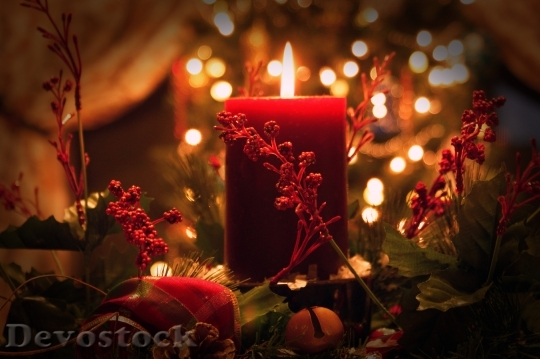 Devostock Christmas Candle Red reen 4K