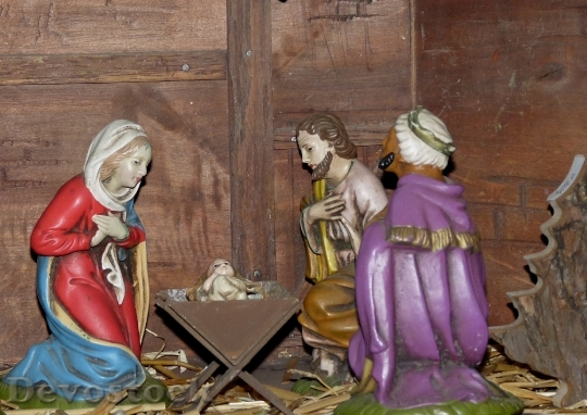 Devostock Christmas Crib Figures Chritmas 4K