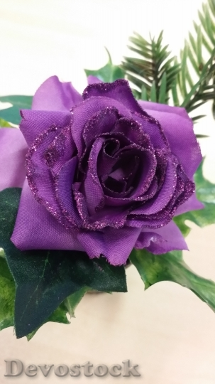 Devostock Christmas Purple Rose Artifcial 4K