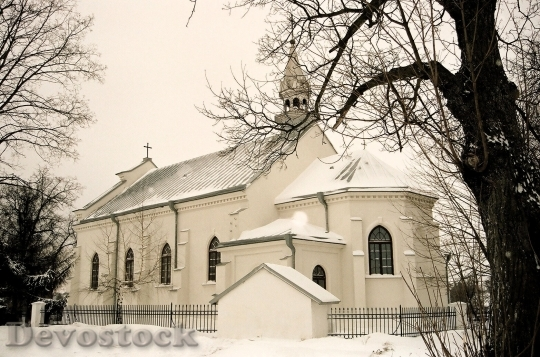 Devostock Church Winter Poland Chritmas 4K