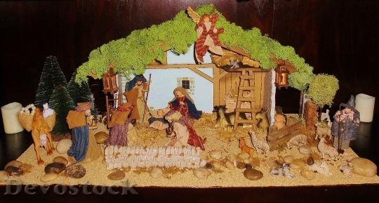 Devostock Crib Father Christmas Chritmas 4K