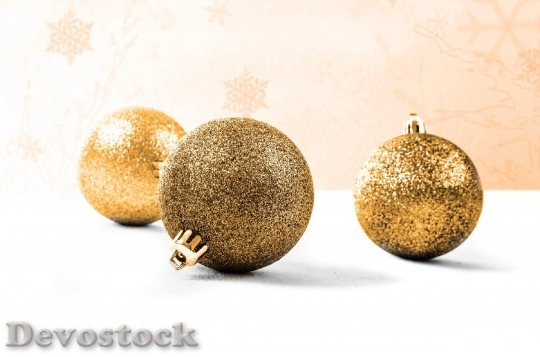 Devostock Decoration Gold Christmas Tme 0 4K