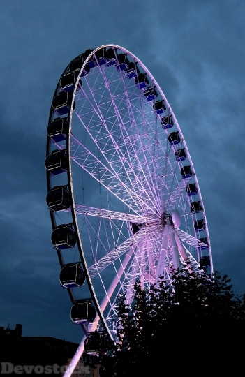 Devostock Ferris Wheel Evening ight 4K