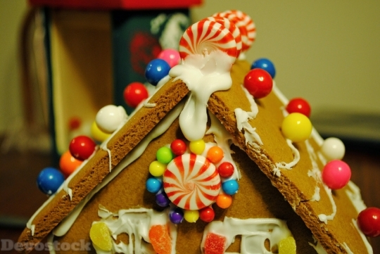 Devostock Gingerbread House Candy Chritmas 4K