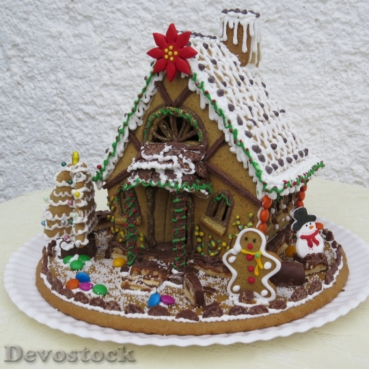 Devostock Gingerbread House Christmas Pasries 4K