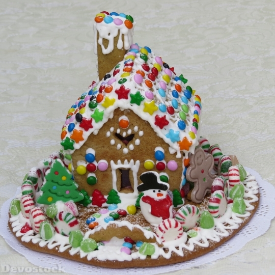 Devostock Gingerbread House Pastry Decortion 4K