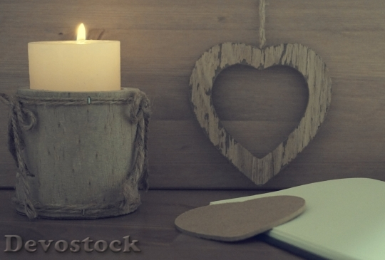 Devostock Heart Candle Wooden Notebook 163093 4K.jpeg