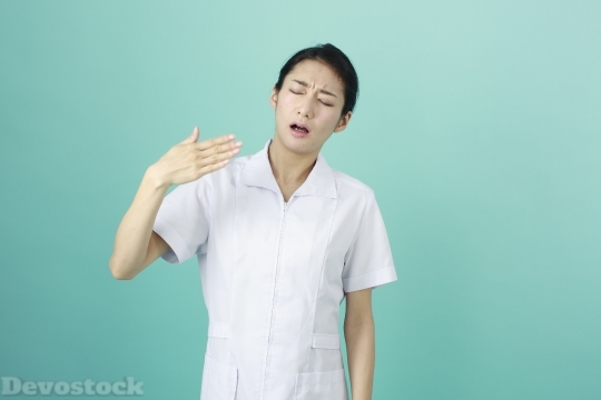 Devostock HOT AND DISGUSTING FEMALE NURSE Waving