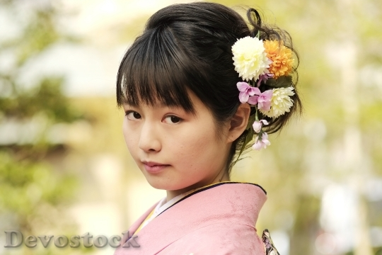 Devostock JAPANESE Girl Traditional Dress KIMONOS 5