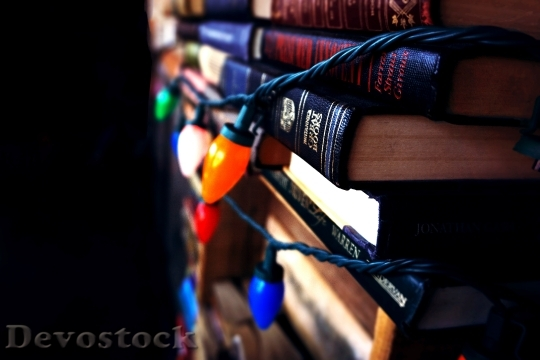 Devostock Lights Dark Books 36692 4K