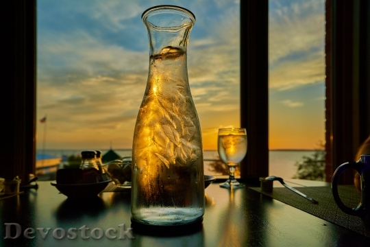Devostock Lights Water Bottle Sunset 4K.jpeg