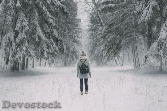 Devostock Person STANDING  TREE-LINED STREET WINTER