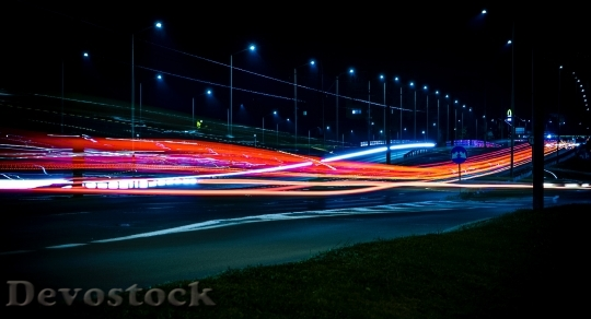 Devostock Road Lights Night 09478 4K