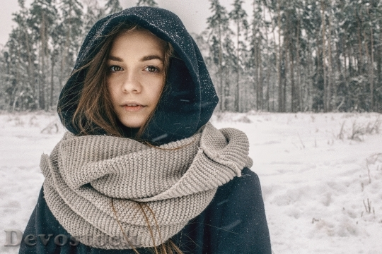 Devostock RUSSIAN GIRL SUFFERING SNOWY SCENERY