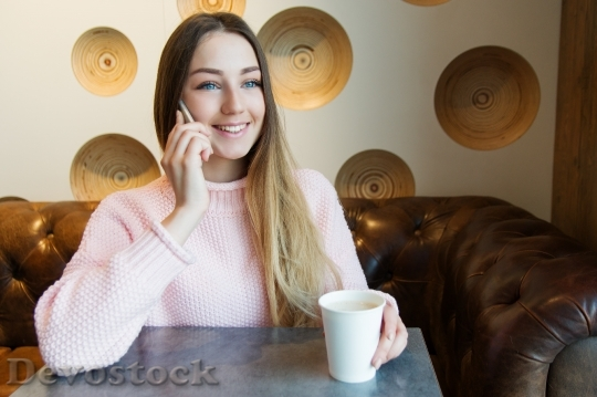 Devostock RUSSIAN Girl TALKING SMARTPHONE