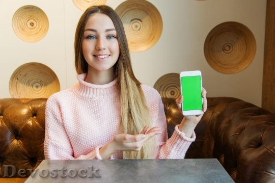 Devostock RUSSIAN LADY INTRODUCING Presenting SMARTPHONE