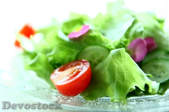 Devostock SALAD WITH MINI TOMATOES, LETTUCE AND CUCUMBERS