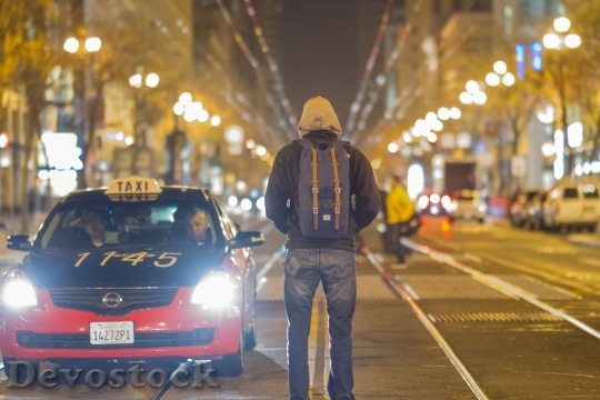 Devostock Streets Lights San Francisco Backpack 4K