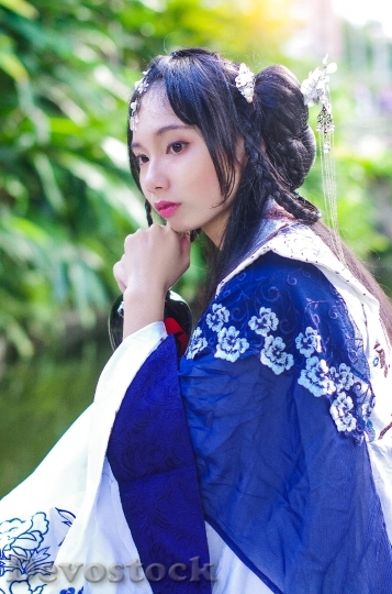 Devostock TAIWANESE WOMAN BLUE HAN Dress