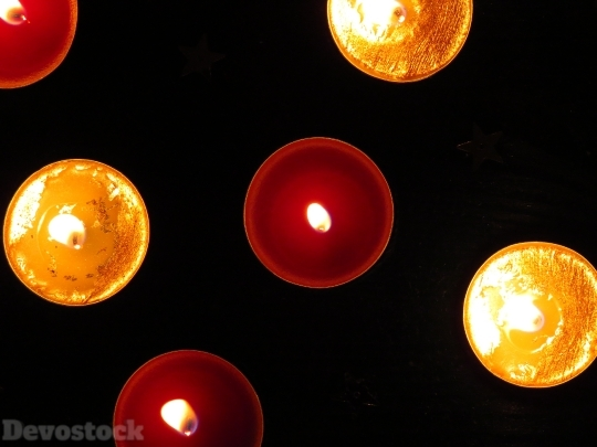 Devostock Tea Lights Red Yllow 4K