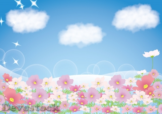 Devostock Background Of Clouds Flowers Blue Sky