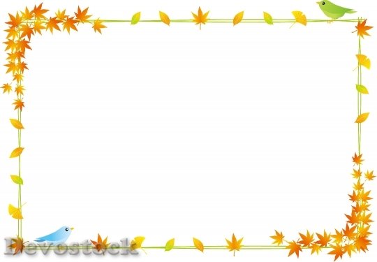 Devostock Bird Leaves Autumn Frame