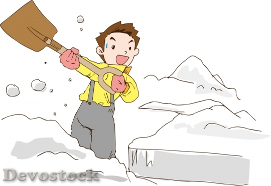 Devostock Boy Removing Snow