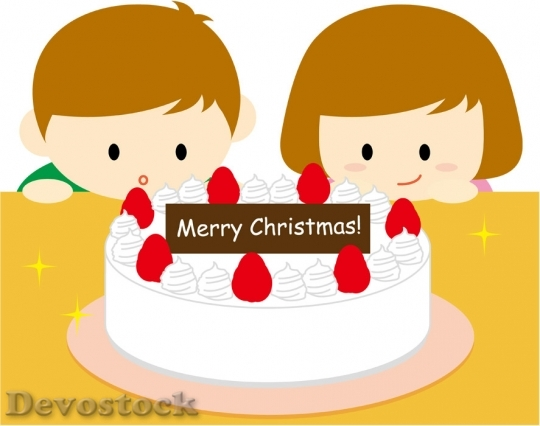 Devostock CHILDREN WATCHING CHRISTMAS CAKE