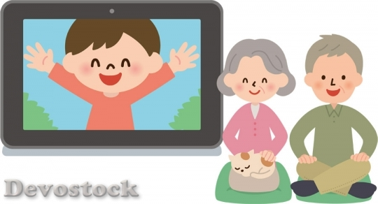 Devostock GRANDPA GRANDMOTHER COMMUNICATE GRANDCHILDREN TABLET PC