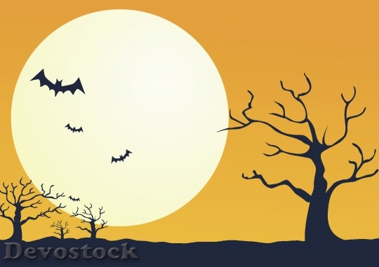 Devostock Moon Bats Dead Tree Halloween Background