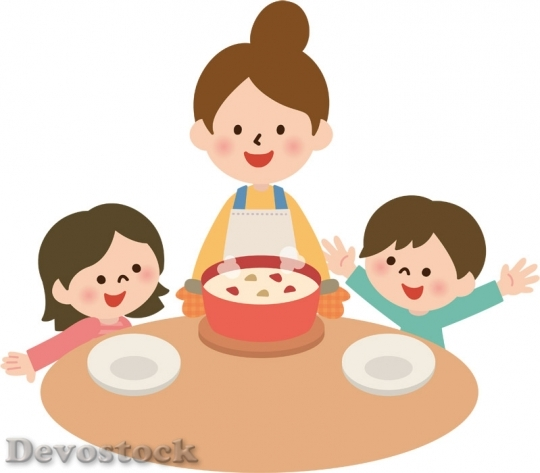 Devostock Mother Children Cooking