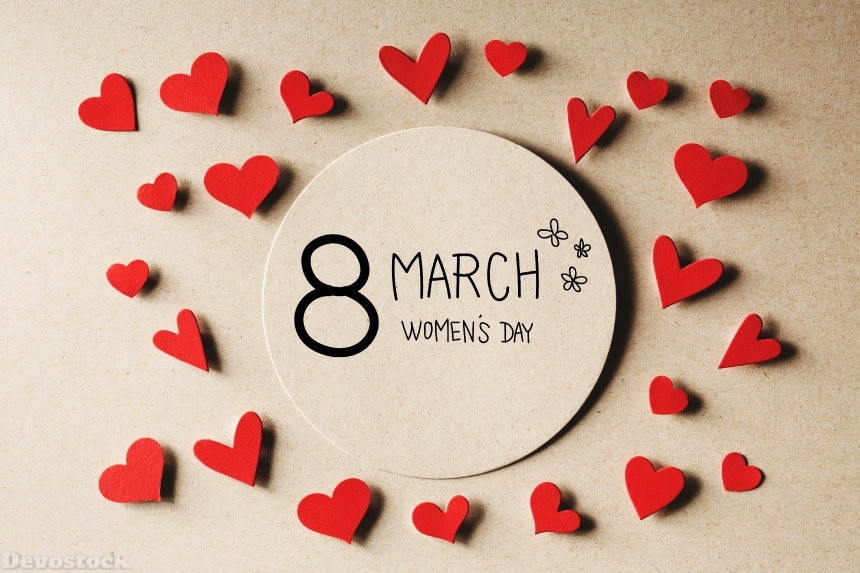 Devostock 8 March Women's day message with small hearts
