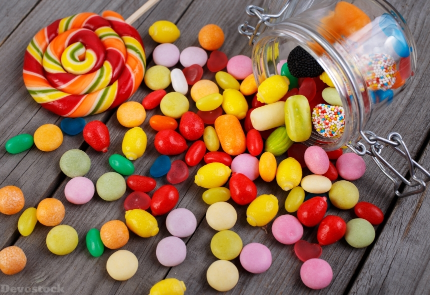 Colorful candies in jar