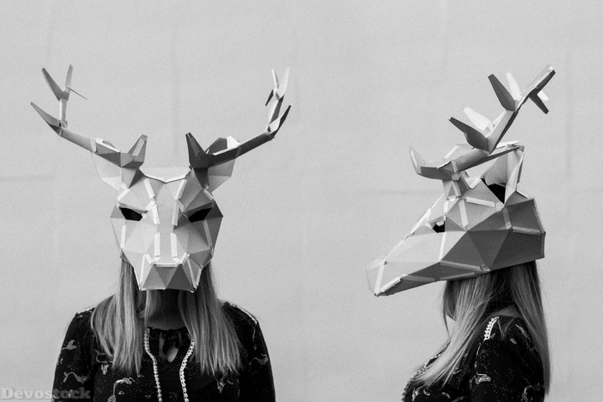 Devostock Animal Head Black And White Person Girl 4k