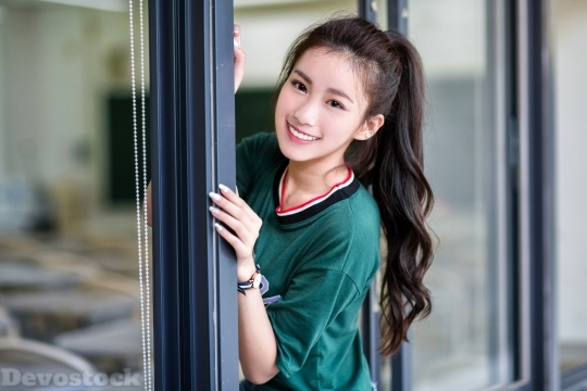 Devostock Asian Cute Teen Girl Glass Door 4k