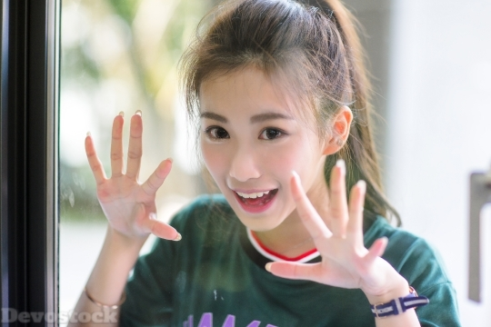 Devostock Asian Cute Teen Girl Scaring 4k