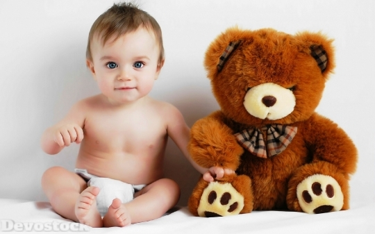Devostock Beautiful Blue Eyes Baby Friendship Teddy Bear 4k